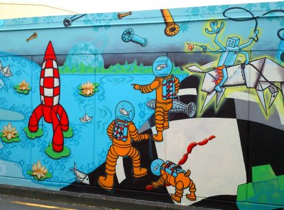 Queens Drive to Knights Rd Mural, Lower Hutt. 2013